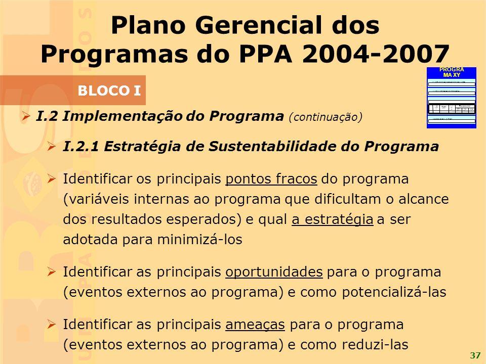 37 I.2 Implementação do Programa (continuação) I.2.1 Estratégia de Sustentabilidade do Programa Identificar os principais pontos fracos do programa (variáveis internas ao programa que dificultam o alcance dos resultados esperados) e qual a estratégia a ser adotada para minimizá-los Identificar as principais oportunidades para o programa (eventos externos ao programa) e como potencializá-las Identificar as principais ameaças para o programa (eventos externos ao programa) e como reduzi-las Plano Gerencial dos Programas do PPA 2004-2007 BLOCO I I.1 CONTRIBUIÇÃO PARA A POLÍTICA SETORIAL I.2 IMPLEMENTAÇÃO DO PROGRAMA I.3 MONITORAMENTO I.4 AVALIAÇÃO E REVISÃO E- mai l Tel efo ne N o me Responsável Pr az o Resultado Processual Esperado Descriçã o da Fas e FaseFase PROGRA MA XY