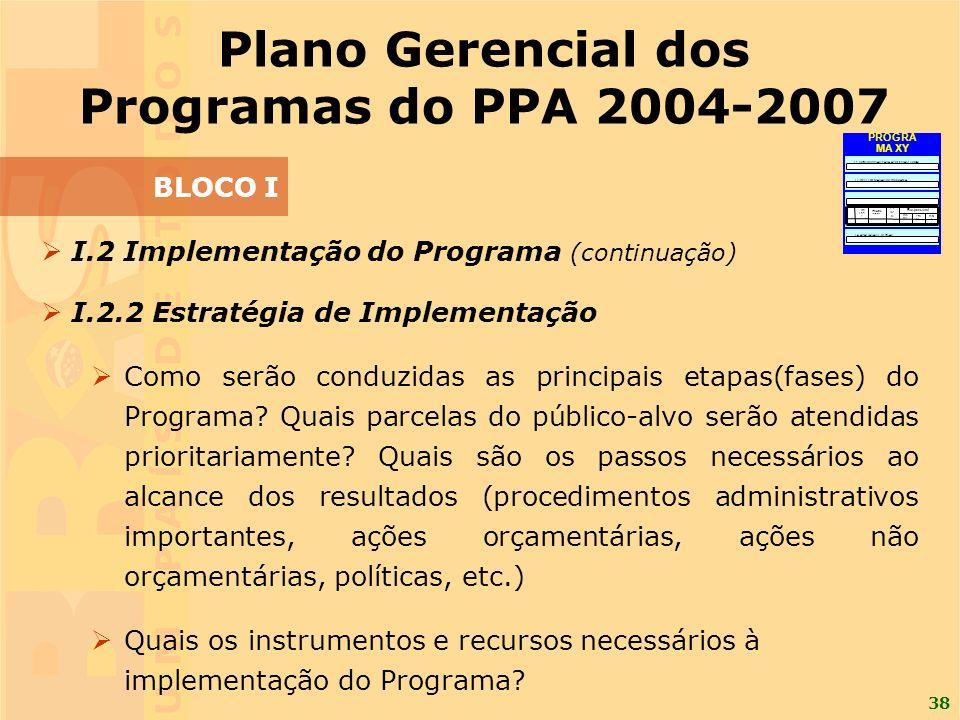 38 I.2 Implementação do Programa (continuação) I.2.2 Estratégia de Implementação Como serão conduzidas as principais etapas(fases) do Programa.