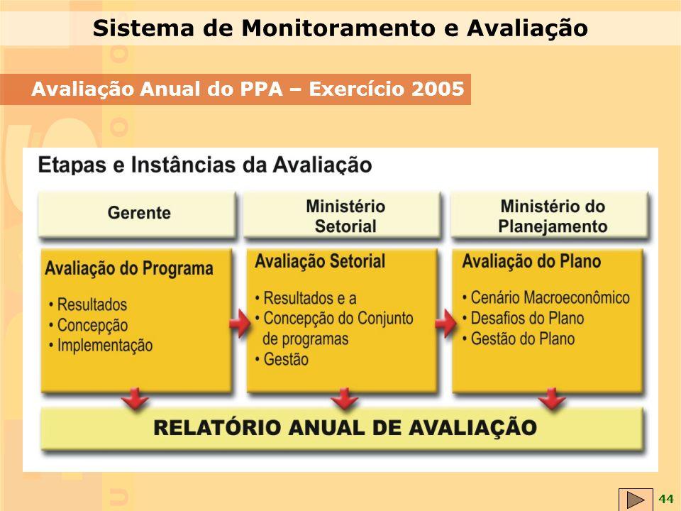 44 Avaliação Anual do PPA – Exercício 2005 Sistema de Monitoramento e Avaliação