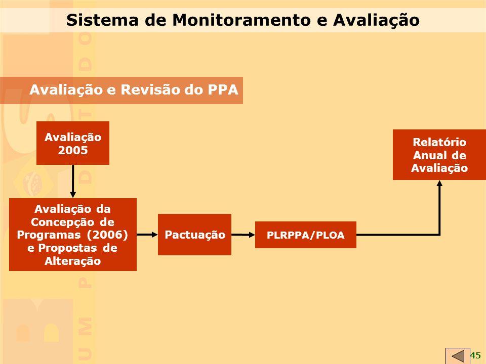 45 PLRPPA/PLOA Avaliação da Concepção de Programas (2006) e Propostas de Alteração Avaliação 2005 Pactuação Relatório Anual de Avaliação Sistema de Monitoramento e Avaliação Avaliação e Revisão do PPA