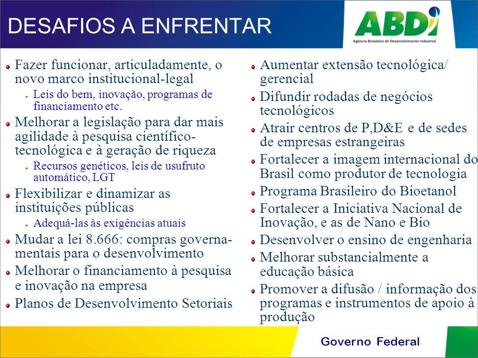 Governo Federal DESAFIOS A ENFRENTAR Fazer funcionar, articuladamente, o novo marco institucional-legal Leis do bem, inovação, programas de financiame