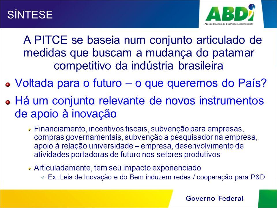 Governo Federal SÍNTESE A PITCE se baseia num conjunto articulado de medidas que buscam a mudança do patamar competitivo da indústria brasileira Volta