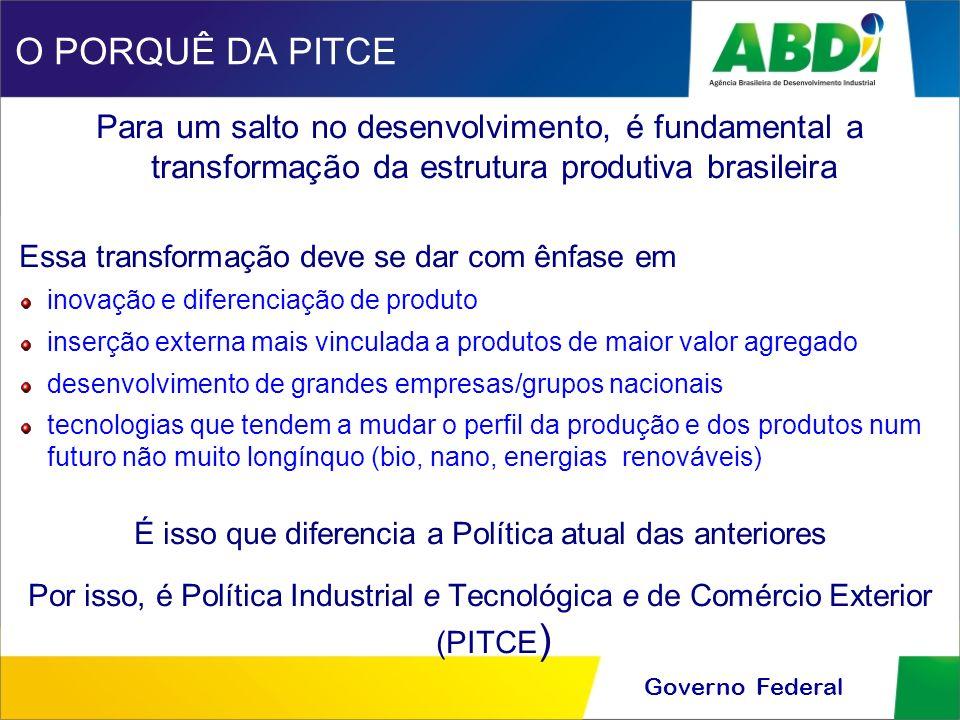 Governo Federal O PORQUÊ DA PITCE Para um salto no desenvolvimento, é fundamental a transformação da estrutura produtiva brasileira Essa transformação