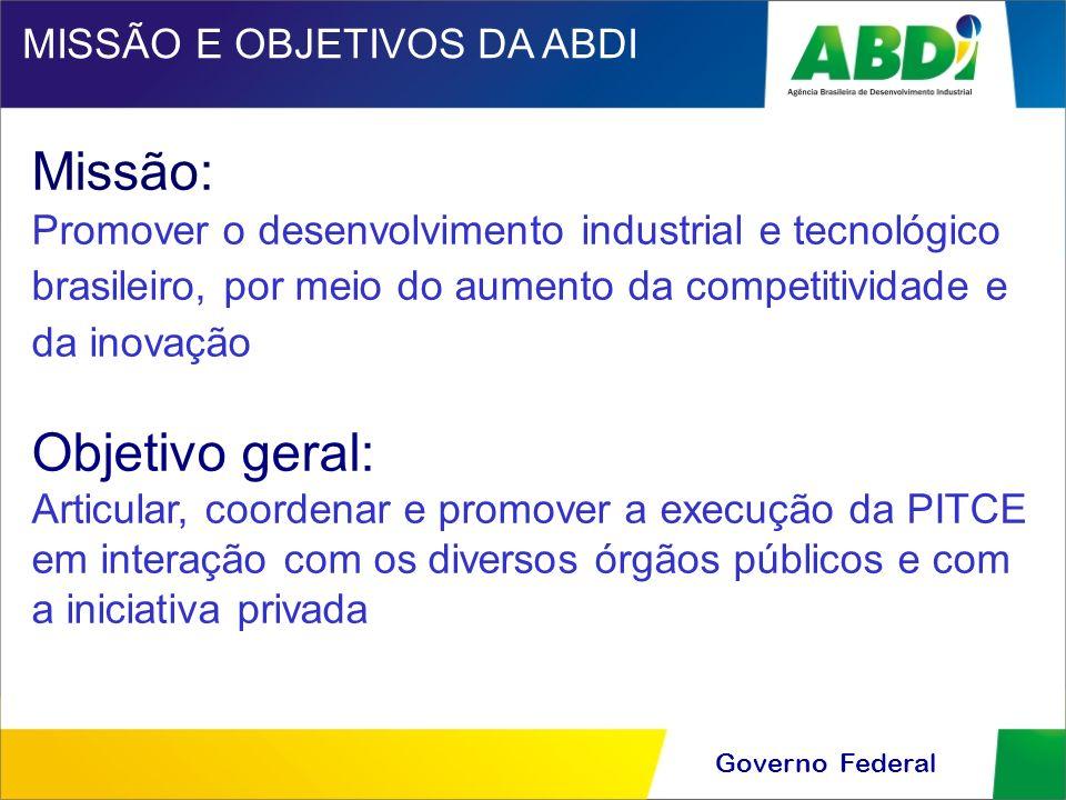 Governo Federal Missão: Promover o desenvolvimento industrial e tecnológico brasileiro, por meio do aumento da competitividade e da inovação Objetivo