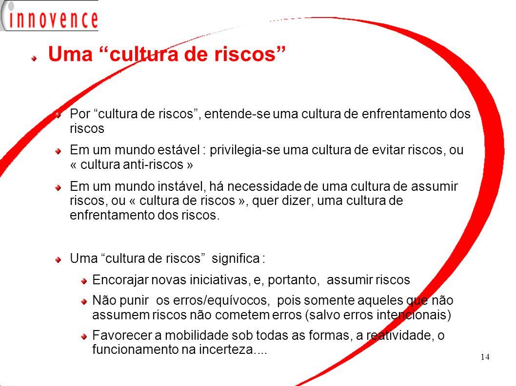 14 Uma cultura de riscos Por cultura de riscos, entende-se uma cultura de enfrentamento dos riscos Em um mundo estável : privilegia-se uma cultura de