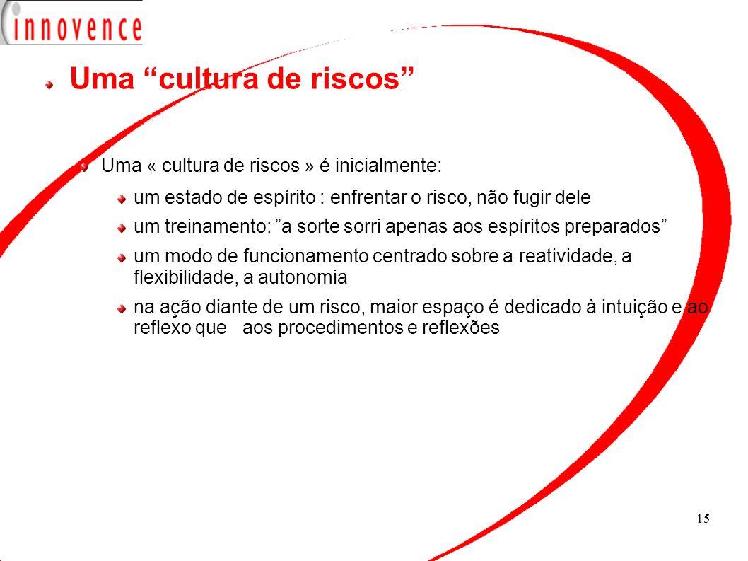 15 Uma cultura de riscos Uma « cultura de riscos » é inicialmente: um estado de espírito : enfrentar o risco, não fugir dele um treinamento: a sorte s