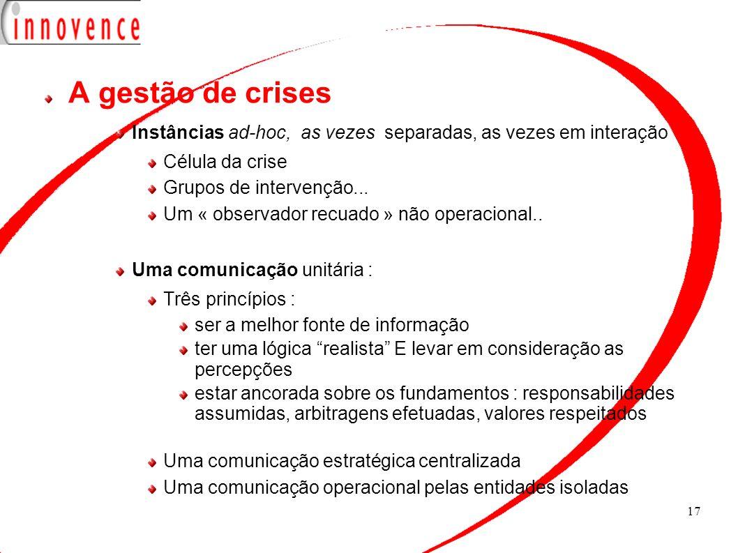 17 A gestão de crises Instâncias ad-hoc, as vezes separadas, as vezes em interação Célula da crise Grupos de intervenção... Um « observador recuado »