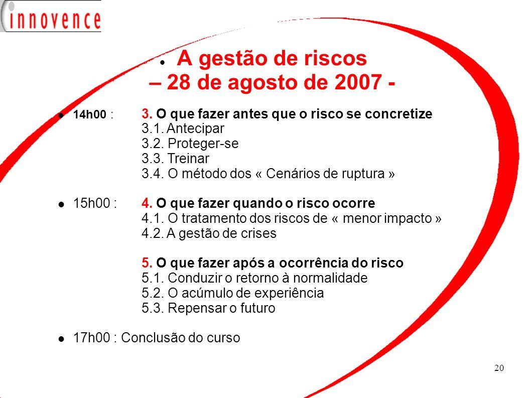 20 A gestão de riscos – 28 de agosto de 2007 - 14h00 : 3. O que fazer antes que o risco se concretize 3.1. Antecipar 3.2. Proteger-se 3.3. Treinar 3.4