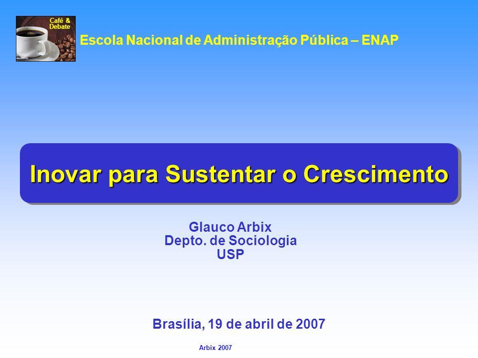 Arbix Arbix 2007 Inovar para Sustentar o Crescimento Glauco Arbix Depto. de Sociologia USP Escola Nacional de Administração Pública – ENAP Brasília, 1