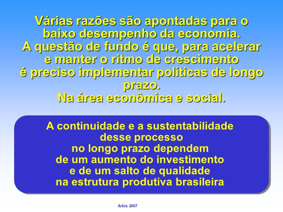 Arbix Arbix 2007 A continuidade e a sustentabilidade desse processo no longo prazo dependem de um aumento do investimento e de um salto de qualidade n