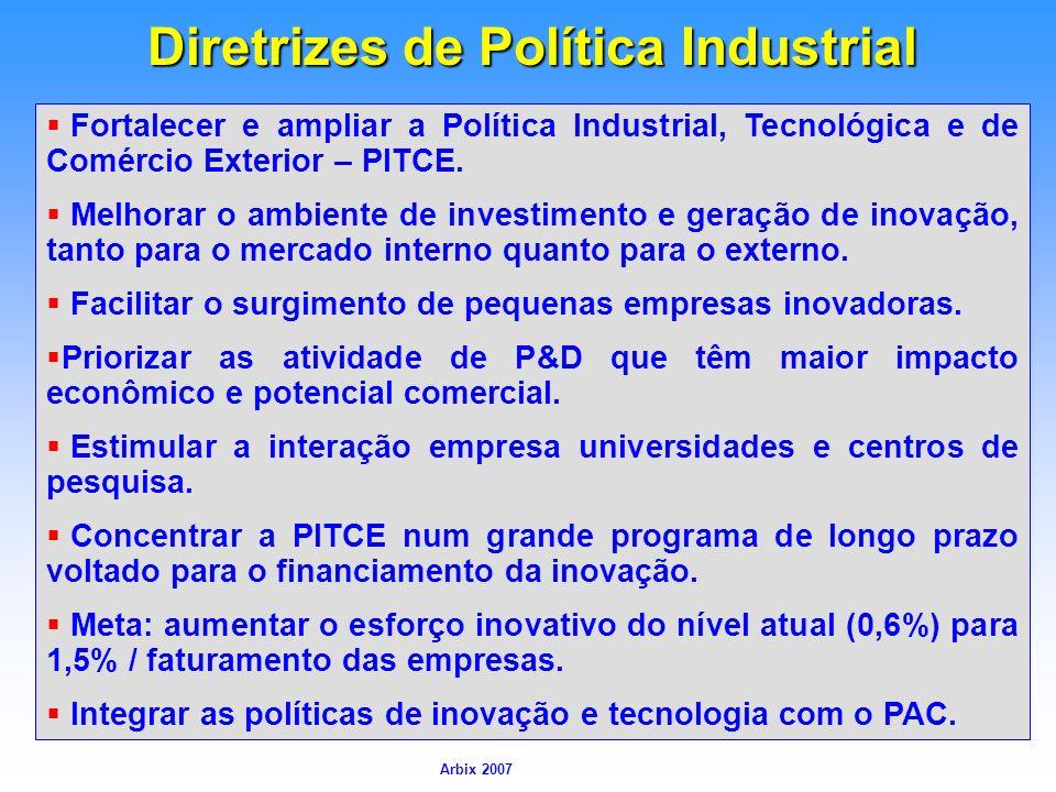 Arbix Arbix 2007 Diretrizes de Política Industrial Fortalecer e ampliar a Política Industrial, Tecnológica e de Comércio Exterior – PITCE. Melhorar o