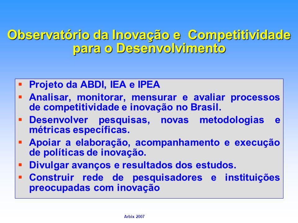 Arbix Arbix 2007 Observatório da Inovação e Competitividade para o Desenvolvimento Projeto da ABDI, IEA e IPEA Analisar, monitorar, mensurar e avaliar