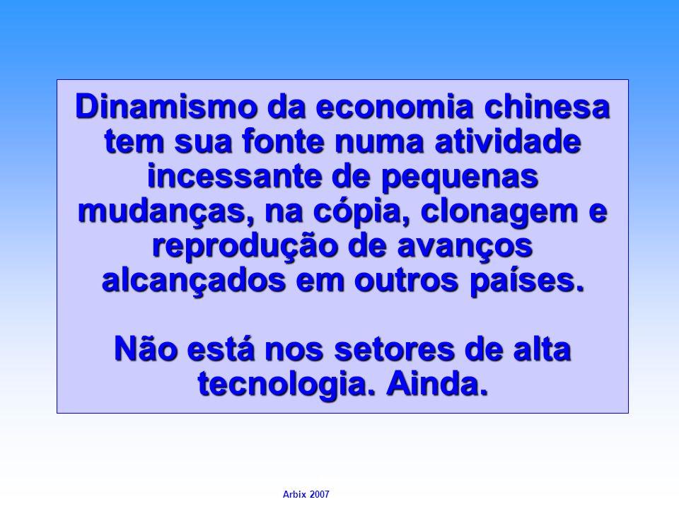 Arbix Arbix 2007 Dinamismo da economia chinesa tem sua fonte numa atividade incessante de pequenas mudanças, na cópia, clonagem e reprodução de avanço