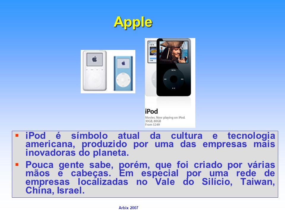 Arbix Arbix 2007 Apple iPod é símbolo atual da cultura e tecnologia americana, produzido por uma das empresas mais inovadoras do planeta. Pouca gente