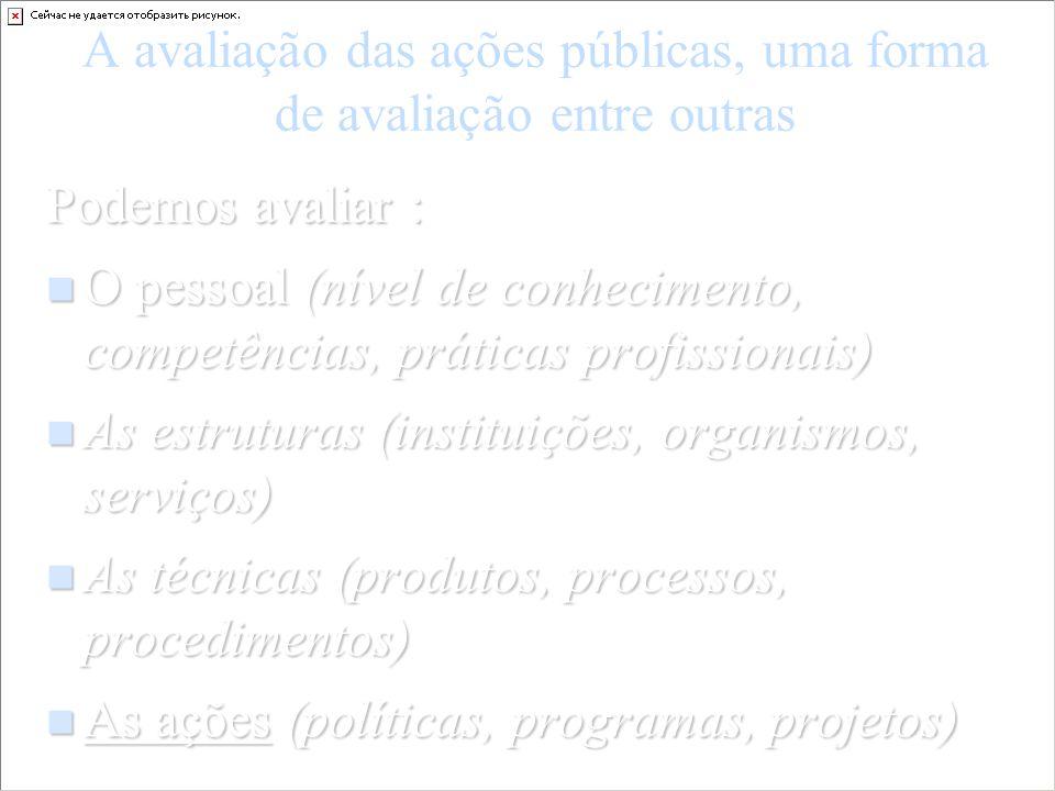 A avaliação das ações públicas, uma forma de avaliação entre outras Podemos avaliar : O pessoal (nível de conhecimento, competências, práticas profiss