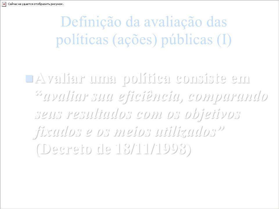 Definição da avaliação das políticas (ações) públicas (I) Avaliar uma política consiste emavaliar sua eficiência, comparando seus resultados com os ob