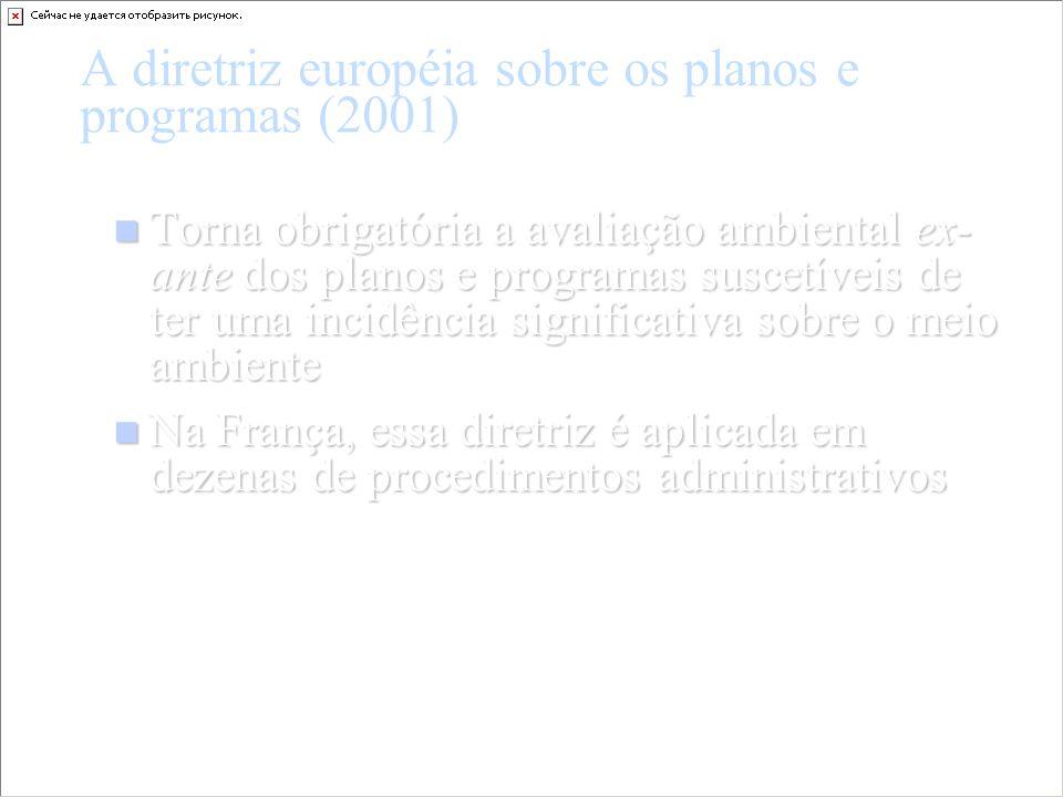 A diretriz européia sobre os planos e programas (2001) Torna obrigatória a avaliação ambiental ex- ante dos planos e programas suscetíveis de ter uma
