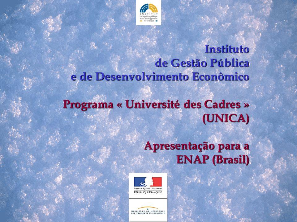 Instituto de Gestão Pública e de Desenvolvimento Econômico e de Desenvolvimento Econômico Programa « Université des Cadres » (UNICA) Programa « Université des Cadres » (UNICA) Apresentação para a ENAP (Brasil)