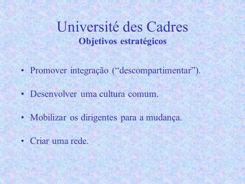 Université des Cadres Objetivos estratégicos Promover integração (descompartimentar).
