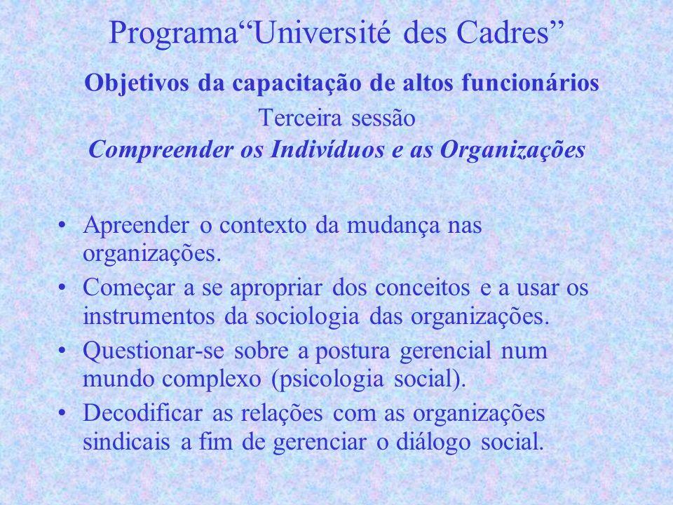 ProgramaUniversité des Cadres Objetivos da capacitação de altos funcionários Terceira sessão Compreender os Indivíduos e as Organizações Apreender o contexto da mudança nas organizações.