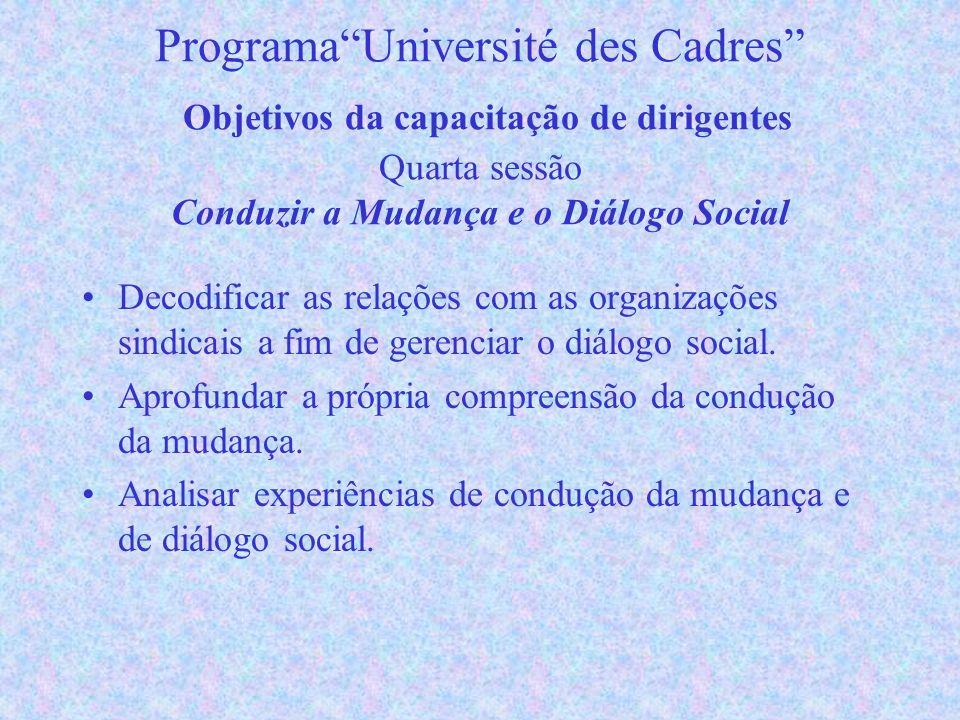 ProgramaUniversité des Cadres Objetivos da capacitação de dirigentes Quarta sessão Conduzir a Mudança e o Diálogo Social Decodificar as relações com as organizações sindicais a fim de gerenciar o diálogo social.