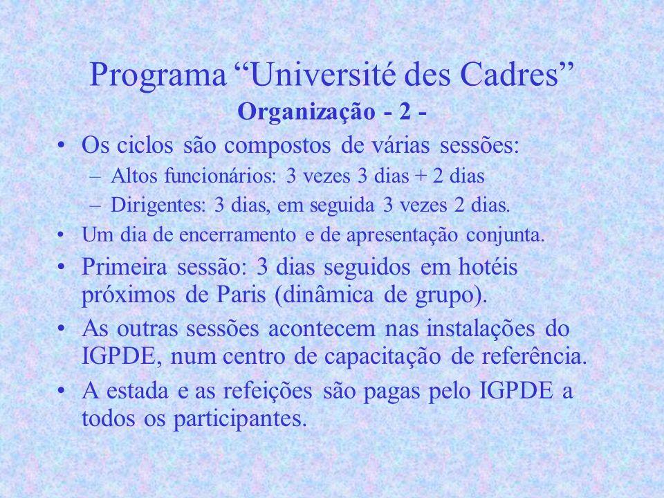 Programa Université des Cadres Organização - 2 - Os ciclos são compostos de várias sessões: –Altos funcionários: 3 vezes 3 dias + 2 dias –Dirigentes: 3 dias, em seguida 3 vezes 2 dias.