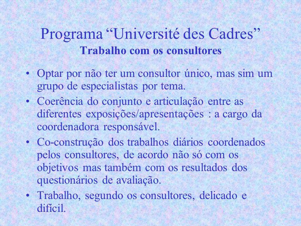 Programa Université des Cadres Trabalho com os consultores Optar por não ter um consultor único, mas sim um grupo de especialistas por tema.