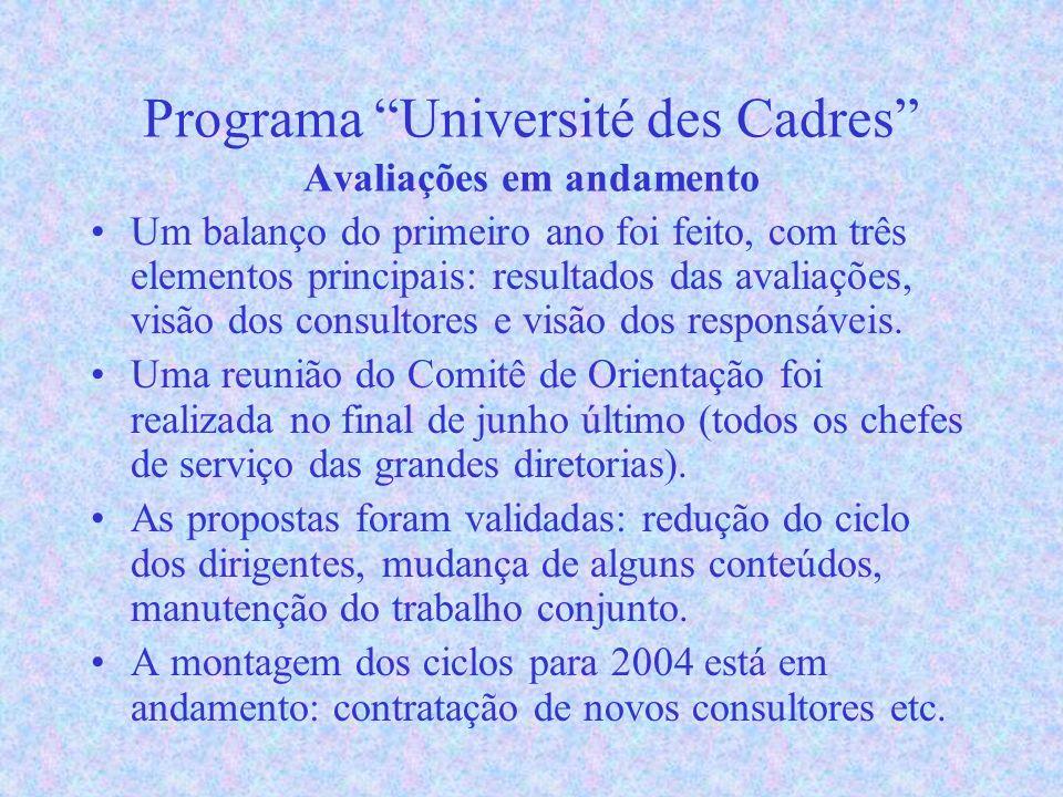 Programa Université des Cadres Avaliações em andamento Um balanço do primeiro ano foi feito, com três elementos principais: resultados das avaliações, visão dos consultores e visão dos responsáveis.