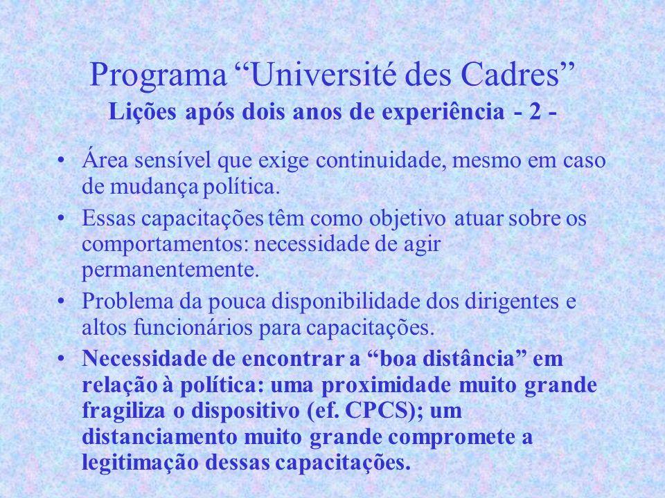 Programa Université des Cadres Lições após dois anos de experiência - 2 - Área sensível que exige continuidade, mesmo em caso de mudança política.