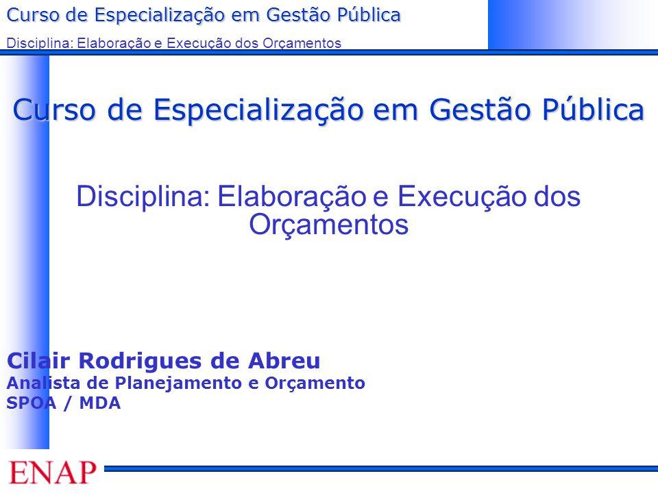 Curso de Especialização em Gestão Pública Disciplina: Elaboração e Execução dos Orçamentos Na elaboração do Orçamento...