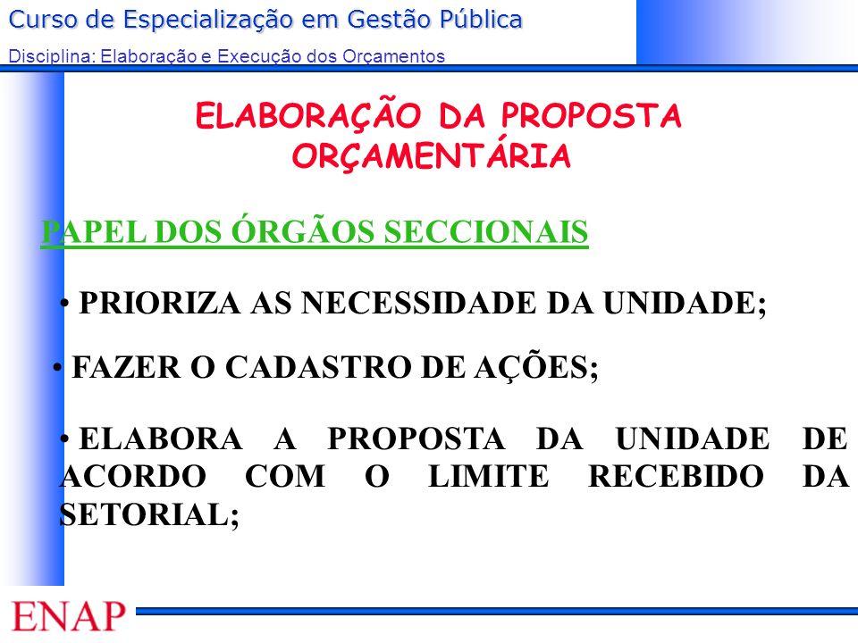 Curso de Especialização em Gestão Pública Disciplina: Elaboração e Execução dos Orçamentos PAPEL DOS ÓRGÃOS SECCIONAIS ELABORAÇÃO DA PROPOSTA ORÇAMENT