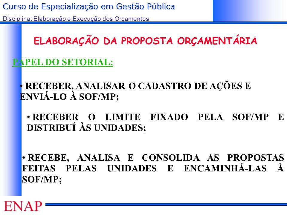 Curso de Especialização em Gestão Pública Disciplina: Elaboração e Execução dos Orçamentos PAPEL DO SETORIAL: ELABORAÇÃO DA PROPOSTA ORÇAMENTÁRIA RECE