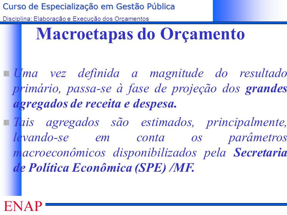 Curso de Especialização em Gestão Pública Disciplina: Elaboração e Execução dos Orçamentos Macroetapas do Orçamento Uma vez definida a magnitude do re