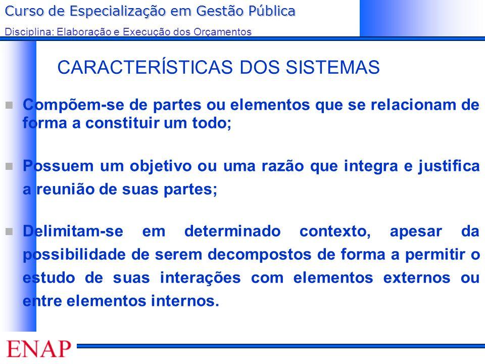 Curso de Especialização em Gestão Pública Disciplina: Elaboração e Execução dos Orçamentos CARACTERÍSTICAS DOS SISTEMAS Compõem-se de partes ou elemen