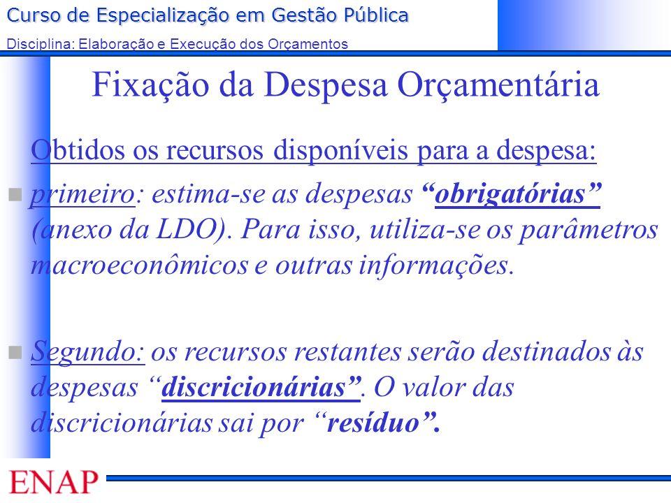 Curso de Especialização em Gestão Pública Disciplina: Elaboração e Execução dos Orçamentos Fixação da Despesa Orçamentária Obtidos os recursos disponí
