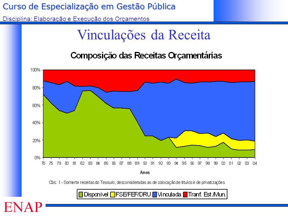 Curso de Especialização em Gestão Pública Disciplina: Elaboração e Execução dos Orçamentos Vinculações da Receita