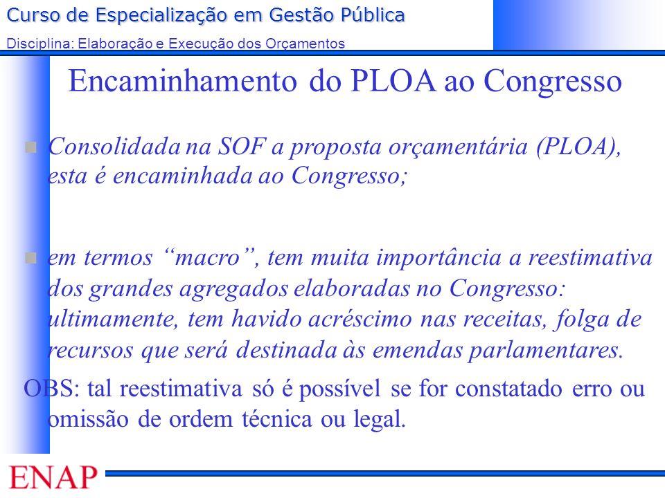 Curso de Especialização em Gestão Pública Disciplina: Elaboração e Execução dos Orçamentos Encaminhamento do PLOA ao Congresso Consolidada na SOF a pr