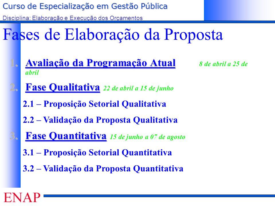 Curso de Especialização em Gestão Pública Disciplina: Elaboração e Execução dos Orçamentos Fases de Elaboração da Proposta 1.Avaliação da Programação