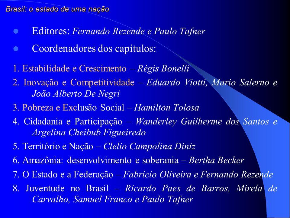 Editores: Fernando Rezende e Paulo Tafner Coordenadores dos capítulos: 1. Estabilidade e Crescimento – Régis Bonelli 2. Inovação e Competitividade – E