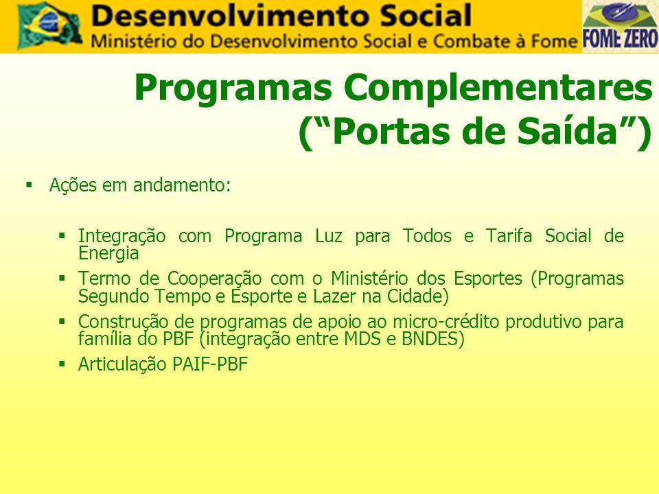 Programas Complementares (Portas de Saída) Ações em andamento: Integração com Programa Luz para Todos e Tarifa Social de Energia Termo de Cooperação c
