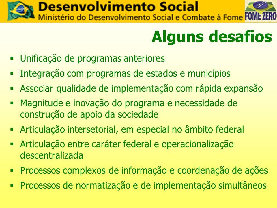 Alguns desafios Unificação de programas anteriores Integração com programas de estados e municípios Associar qualidade de implementação com rápida exp