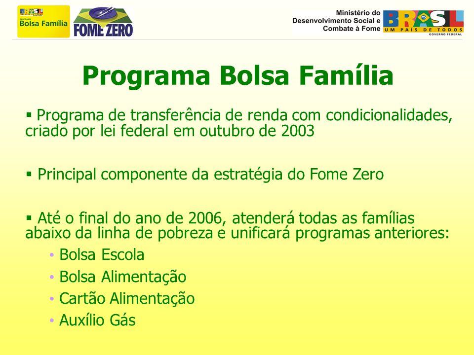 Programa Bolsa Família Programa de transferência de renda com condicionalidades, criado por lei federal em outubro de 2003 Principal componente da est