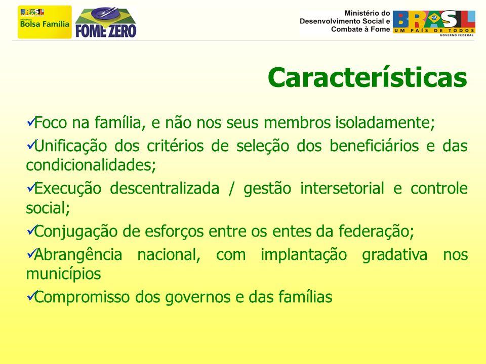 Características Foco na família, e não nos seus membros isoladamente; Unificação dos critérios de seleção dos beneficiários e das condicionalidades; E
