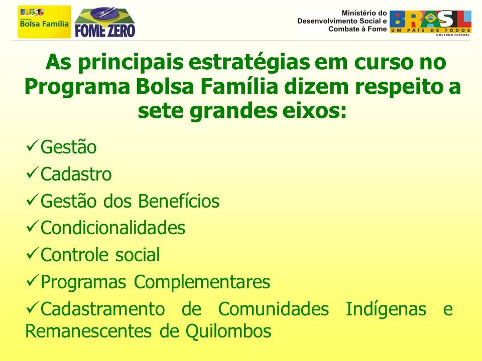 As principais estratégias em curso no Programa Bolsa Família dizem respeito a sete grandes eixos: Gestão Cadastro Gestão dos Benefícios Condicionalida
