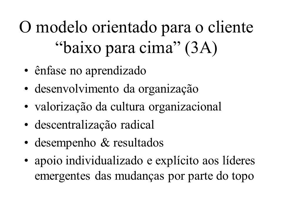 O modelo orientado para o cliente baixo para cima (3A) ênfase no aprendizado desenvolvimento da organização valorização da cultura organizacional desc