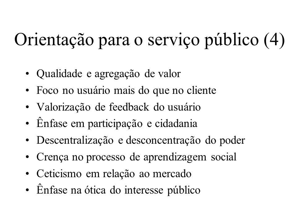 Orientação para o serviço público (4) Qualidade e agregação de valor Foco no usuário mais do que no cliente Valorização de feedback do usuário Ênfase
