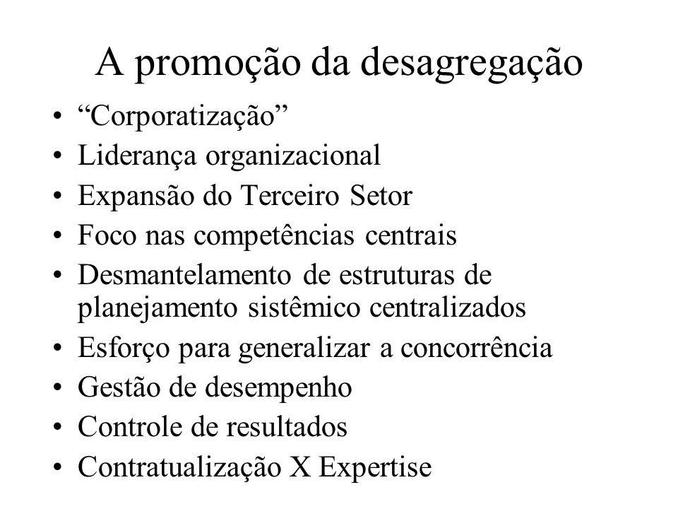 A promoção da desagregação Corporatização Liderança organizacional Expansão do Terceiro Setor Foco nas competências centrais Desmantelamento de estrut
