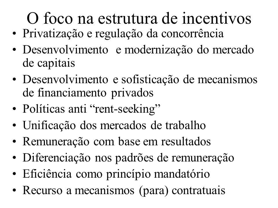 O foco na estrutura de incentivos Privatização e regulação da concorrência Desenvolvimento e modernização do mercado de capitais Desenvolvimento e sof