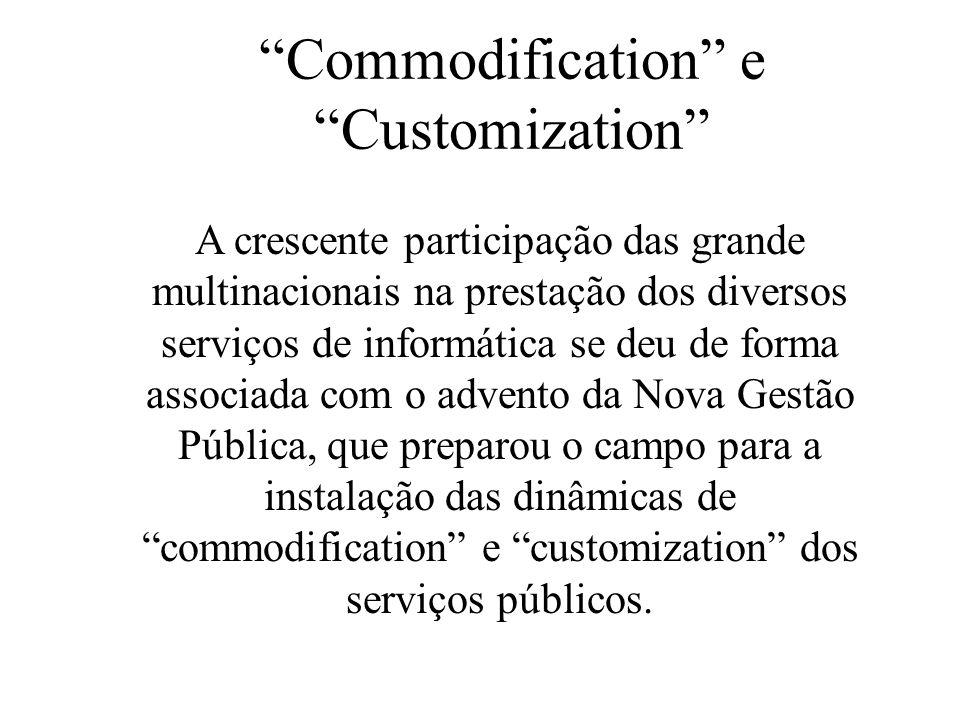 Commodification e Customization A crescente participação das grande multinacionais na prestação dos diversos serviços de informática se deu de forma a