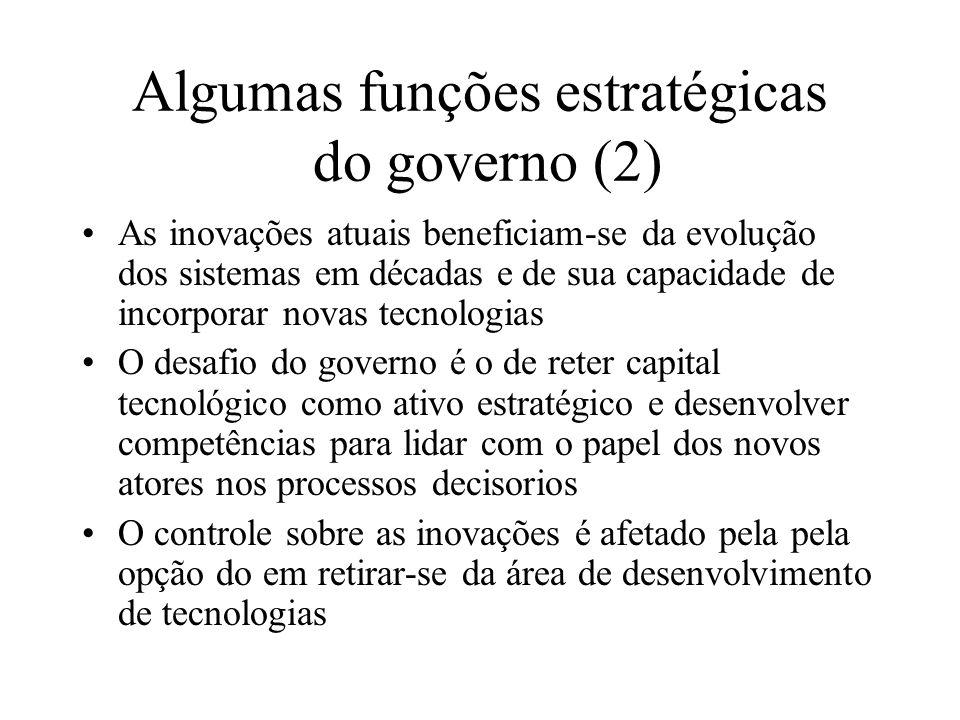 Algumas funções estratégicas do governo (2) As inovações atuais beneficiam-se da evolução dos sistemas em décadas e de sua capacidade de incorporar no